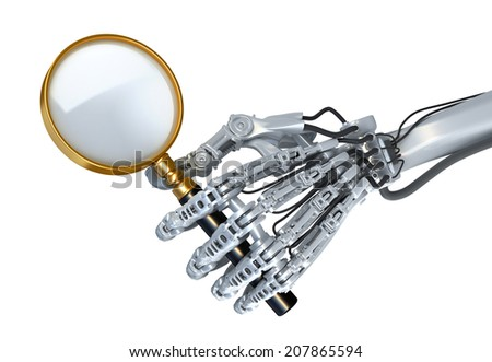Robot's hand with magnification glass. Search using high Technology. 3d illustration - stock photo