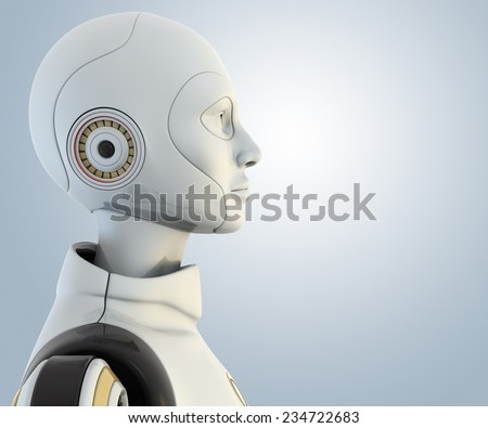 Robot's head in profile
