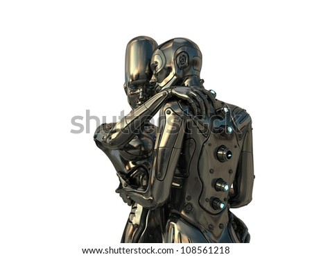 Robot's love. Two future creatures embracing. Isolated on white 3d image / Couple of robotic man and woman
