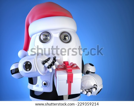 Robot Santa with christmas gift box. Christmas concept. Contains clipping path - stock photo