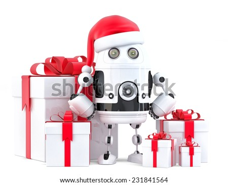 Robot Santa with gift boxes. Christmas concept. Isolated, contains clipping path - stock photo