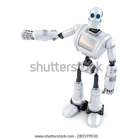 Robot showing an invisible object. Isolated on white. Contains clipping path - stock photo