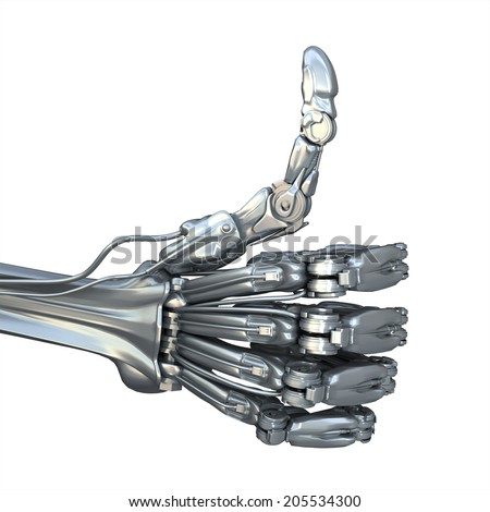 Robot shows a cool gesture. Technology 3d illustration - stock photo