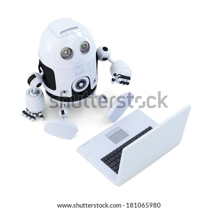 Robot sit with laptop. Isolated on white background - stock photo