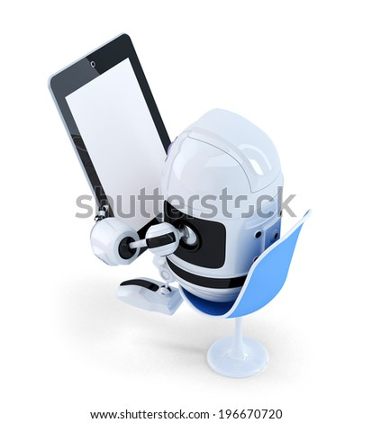 Robot sitting with a Tablet Computer. Isolated on white background. Contains clipping path of entire scene and tablet screen - stock photo