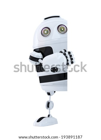 Robot standing behind blank banner. Isolated. Contains clipping path