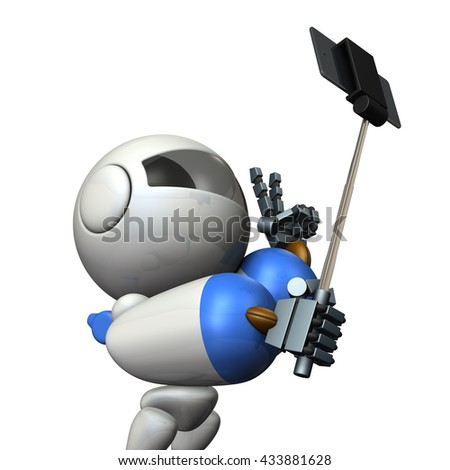Robot takes himself in self shooting stick. 3D illustration - stock photo
