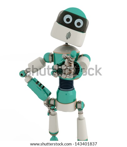 Robot that point out with white background