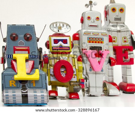 robot toys say the word love