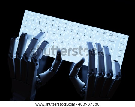 Robot typing on conceptual self-illuminated keyboard 3D illustration - stock photo