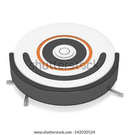 Robot vacuum cleaner. 3d render isolated on white. Smart cleaning technology concept