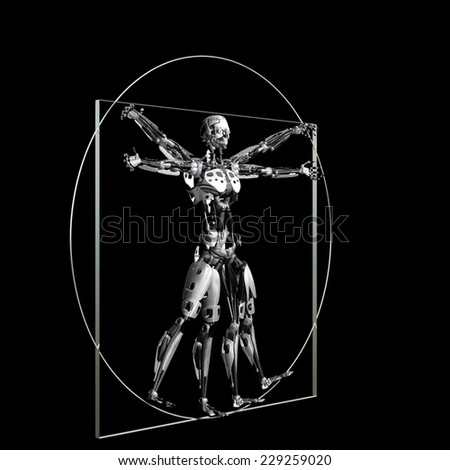 Robot - Vitruvian: A futuristic male humanoid robot in a Leonardo da Vinci Vitruvian style pose.  45 degree angle. Isolated on a black background - stock photo