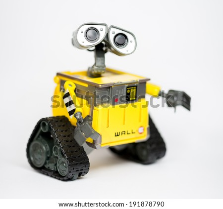 Robot Wall-E from Pixar and Disney Movie, 8 May 2014, in my studio, Povoa de Lanhoso - stock photo