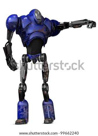 Robot Warrior Blue - stock photo