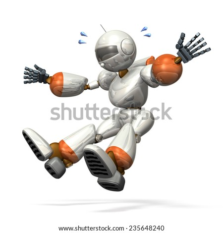 Robot was emergency stop. isolated, computer generated image, - stock photo