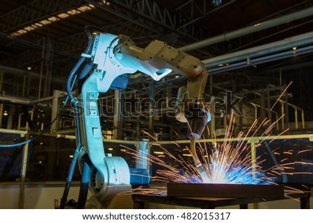 Robot welding test run program in automotive factory