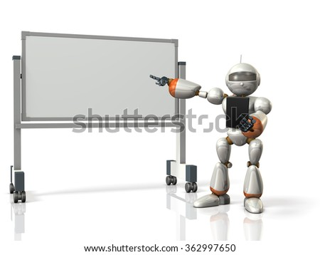 Robot will comment something in front of the whiteboard. isolated, computer generated image  - stock photo