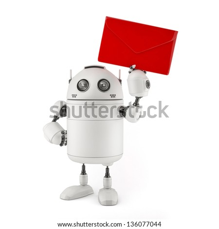 Robot wit red mail. Isolated on white - stock photo