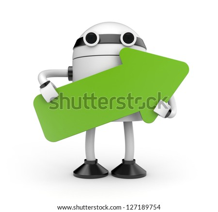 Robot with arrow - stock photo
