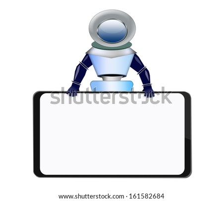 Robot with banner - stock photo