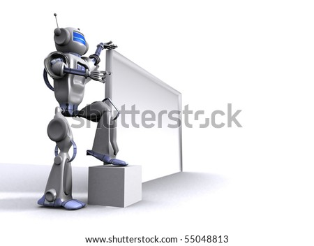 Robot with billboard - stock photo