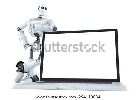 Robot with blank screen laptop. Isolated over white. Contains clipping path - stock photo