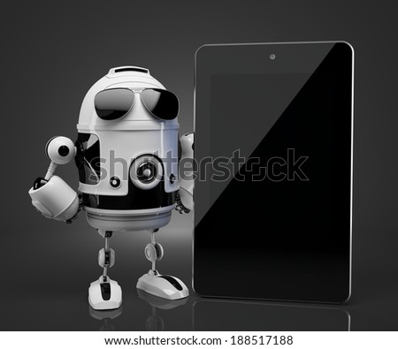 Robot with blank screen tablet computer.  - stock photo