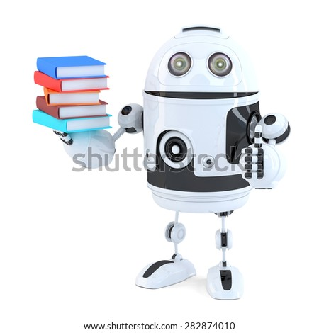 Robot with books. Isolated on white. Contains clipping path - stock photo