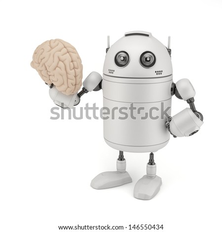 Robot with Brain. Isolated on white