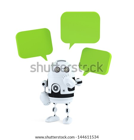 robot with chat bubbles. Isolated on white - stock photo