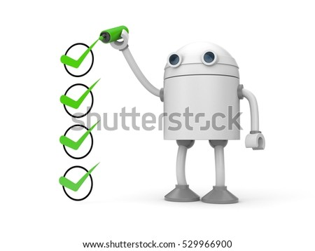 Robot with clipboard and red checkmark. 3d illustration