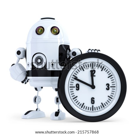 Robot with clock. Technology concept. Isolated. Contains clipping path - stock photo