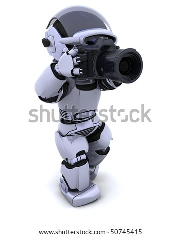 robot with DSLR Camera - stock photo