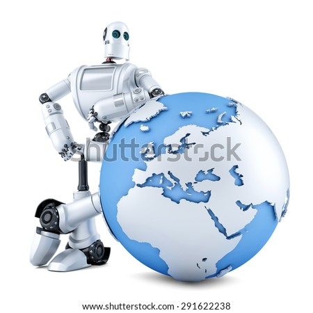 Robot with earth globe. Isolated over white. Contains clipping path - stock photo