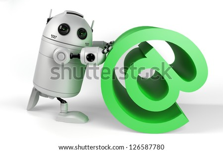 Robot With Email Sign. Render on white background