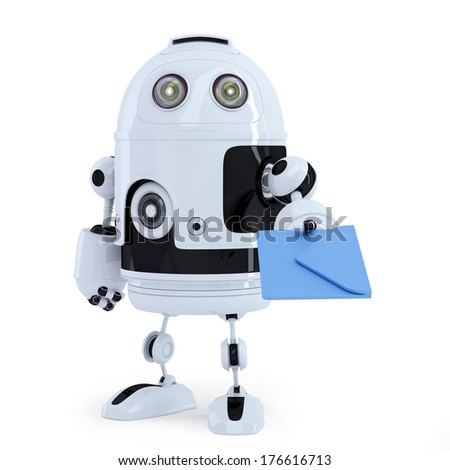 Robot with envelope. Communication technology concept. Isolated on white