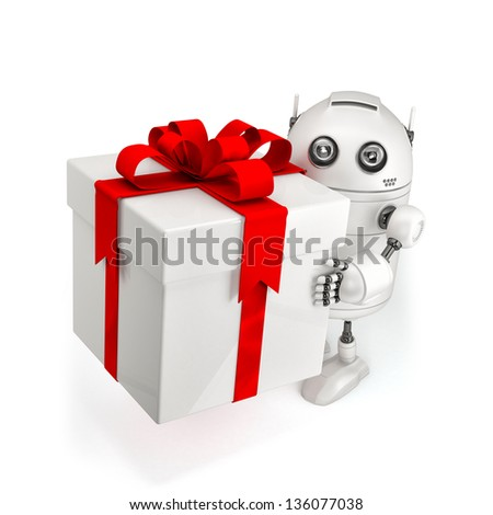 Robot with gift box. Isolated on white - stock photo