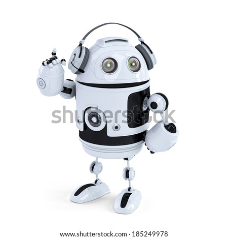 Robot with headphone. Isolated. Contains clipping path - stock photo