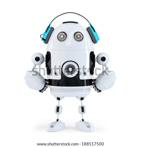 Robot with headphones. Isolated. - stock photo