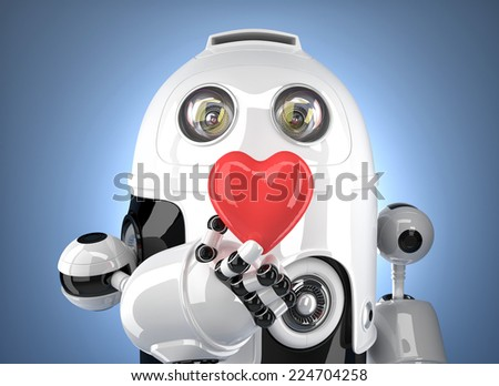 Robot with heart in hand. Technology concept. Contains clipping path. - stock photo