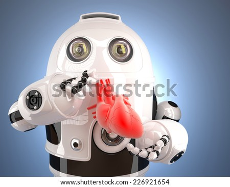 Robot with human heart in the hands. Technology concept. Contains clipping path. - stock photo