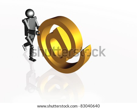 Robot with mail sign on white background.