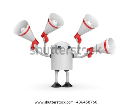 Robot with megaphones. 3d illustration - stock photo