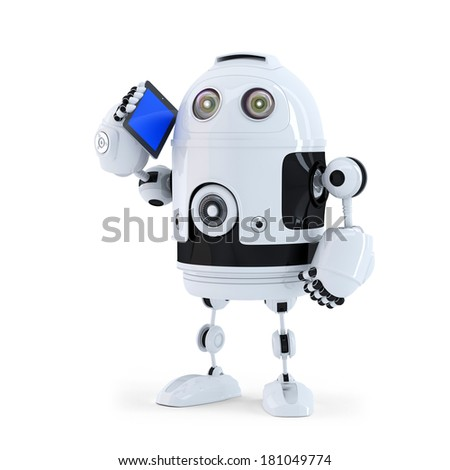 Robot with mobile phone. Isolated on white background