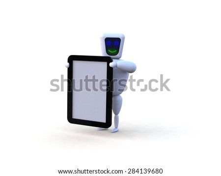 Robot with mobile tablet device - stock photo