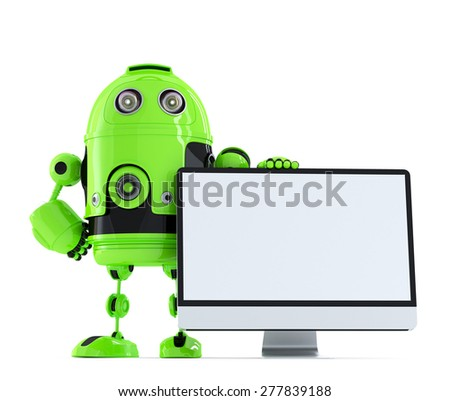 Robot with monitor. Isolated over white. Contains clipping path - stock photo