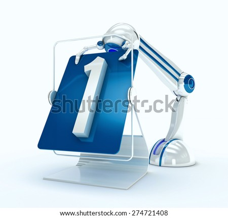 Robot with No. 1 - stock photo