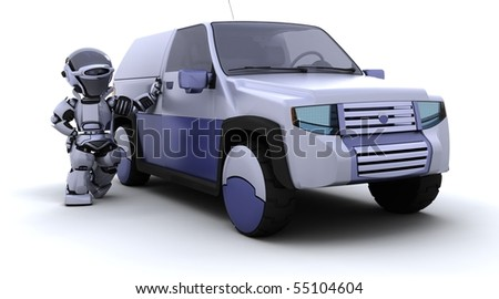 robot with pickup truck - stock photo