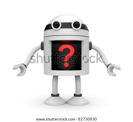 Robot with question - stock photo