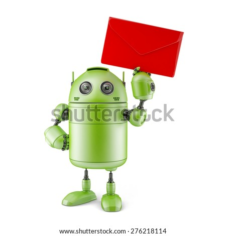 Robot with red envelope.. Technology concept. Isolated - stock photo